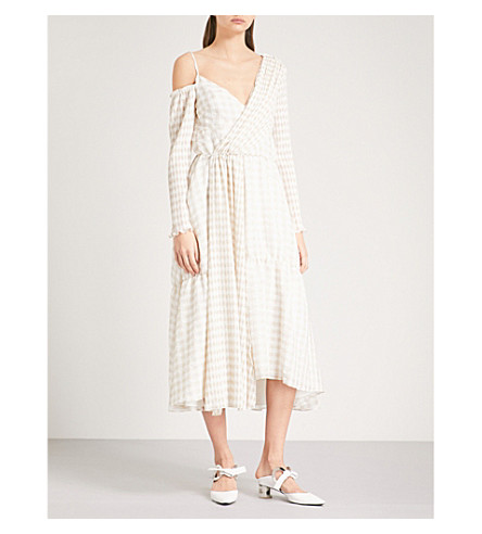 ADEAM Checked asymmetric woven dress (Beige+gingham