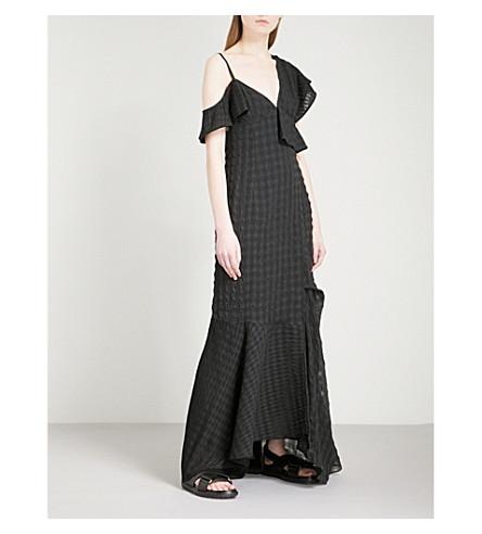 ADEAM Gingham devoré cold-shoulder crepe maxi dress (Black+gingham