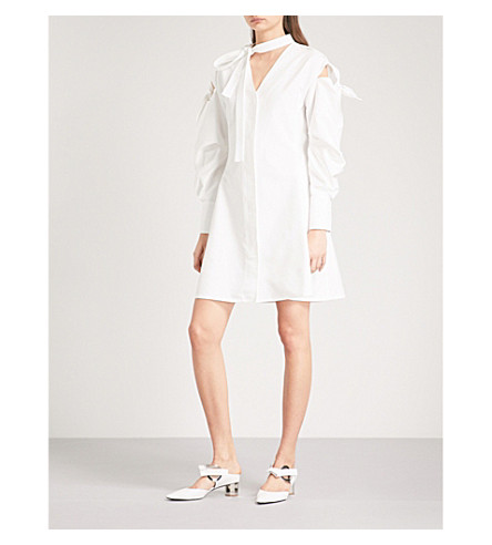 ADEAM Tie-sleeve cotton-blend dress (White
