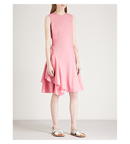 ADEAM Laced flared sleeveless stretch-wool dress (Pink+dahlia