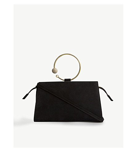 ADEAM Mini rectangle nubuck shoulder bag (Black