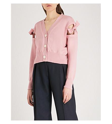 ADEAM Tie-sleeve cotton-blend cardigan (Pink+dahlia