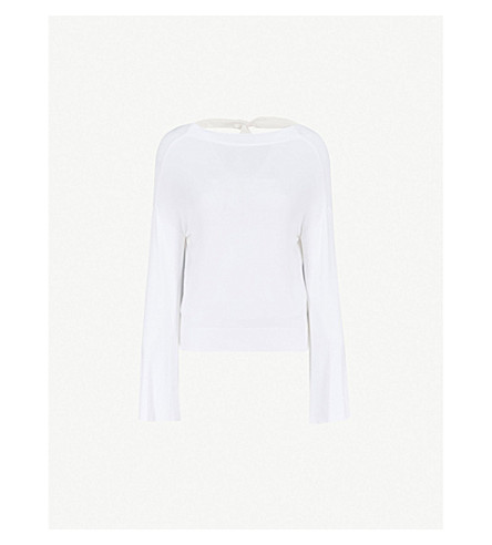 ADEAM Trumpet-sleeve knitted jumper (White