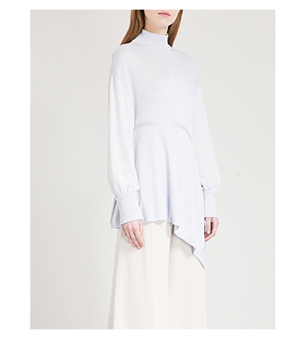 ADEAM Asymmetric-hem turtleneck knitted jumper (Powder+blue