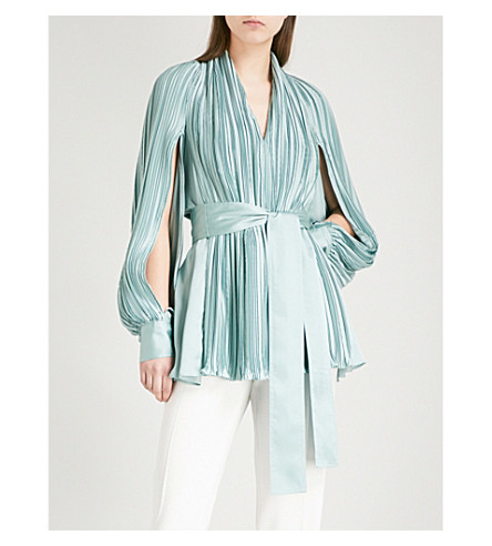 ADEAM Parachute-sleeve pleated satin top (Moss