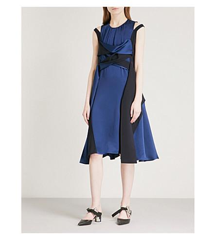 ADEAM Scarf-detail satin dress (Midnight
