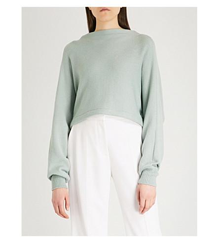 ADEAM Tie open back knitted jumper (Moss