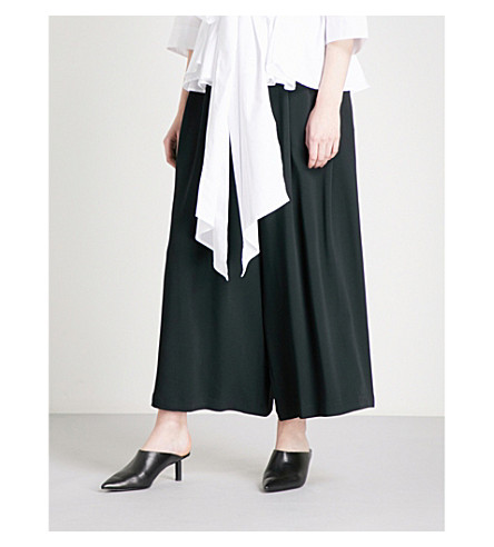 TOME Wide cropped high-rise crepe trousers (Black