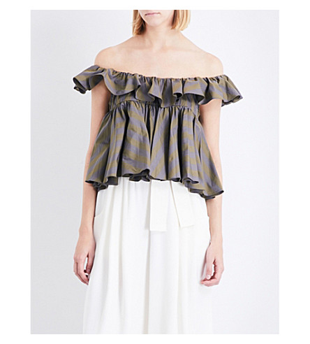 TOME Tiered ruffled off-the-shoulder cotton-poplin top (Forest+stripe