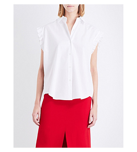 TOME Lace-up cotton-poplin shirt (White