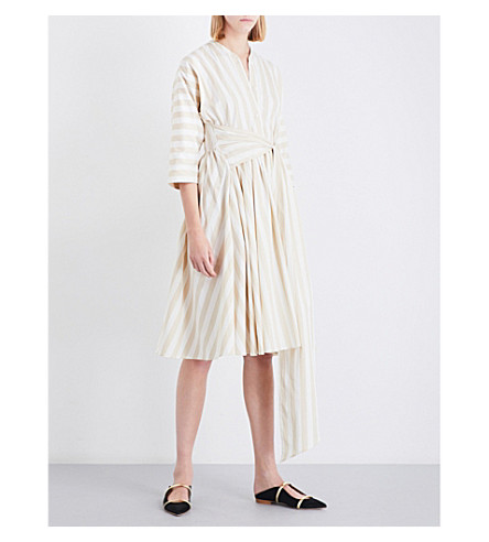 TOME Dolman-sleeve cotton-poplin midi dress (Putty+stripe