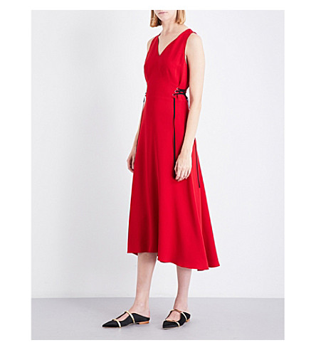 TOME Lace-up crepe midi dress (Red