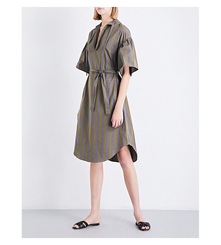TOME Striped cotton-poplin tunic dress (Forest+stripe
