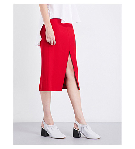 TOME High-waisted crepe pencil skirt (Red