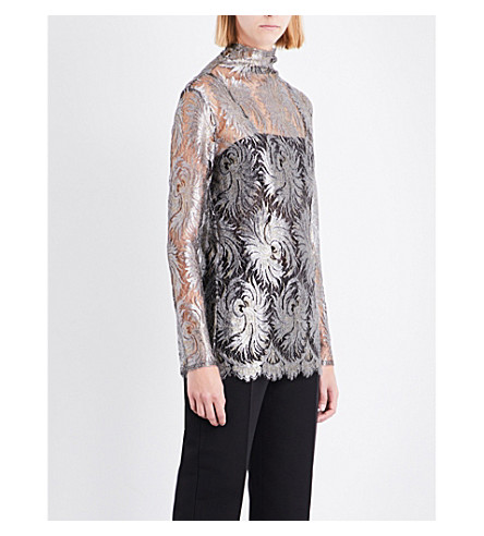 SHARON WAUCHOB Turtleneck metallic silk lace top (Silver