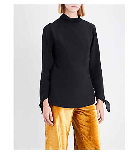 SHARON WAUCHOB Tie-sleeve silk top (Black