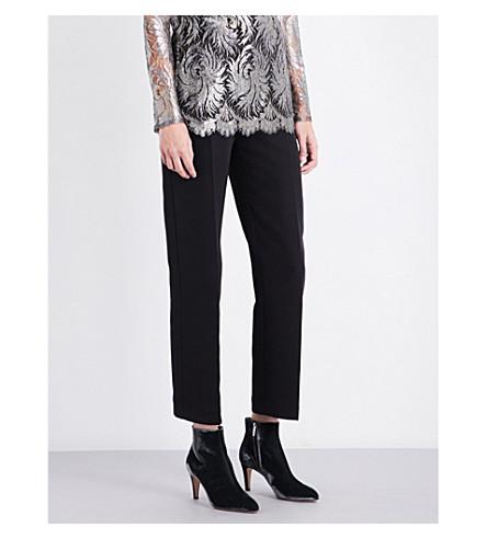 SHARON WAUCHOB Cutout-detail straight high-rise silk trousers (Black