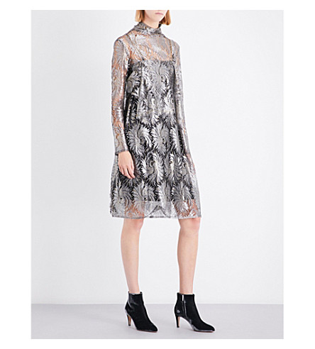 SHARON WAUCHOB Metallic silk lace dress (Silver