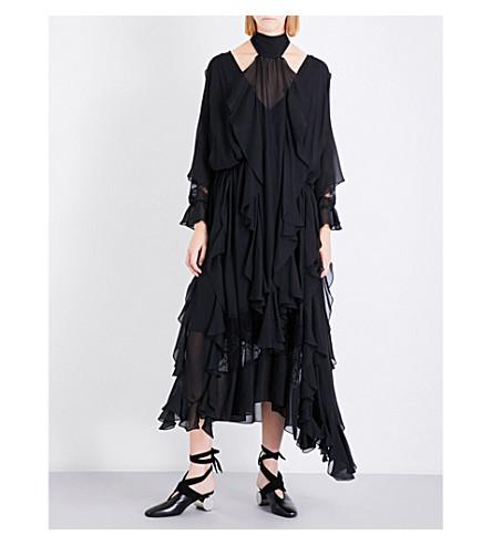 SHARON WAUCHOB Ruffled silk dress (Black