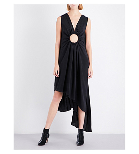 SHARON WAUCHOB Cutout-detail silk dress (Black