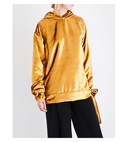 SHARON WAUCHOB Tie-detail oversized velvet hoody (Gold