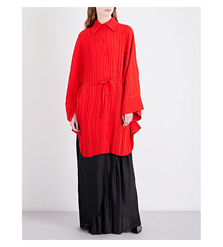 SHARON WAUCHOB Pleated cotton-blend shirt (Red