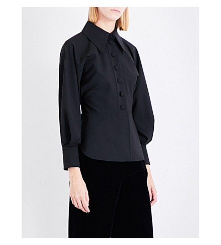 SHARON WAUCHOB Military wool shirt (Black