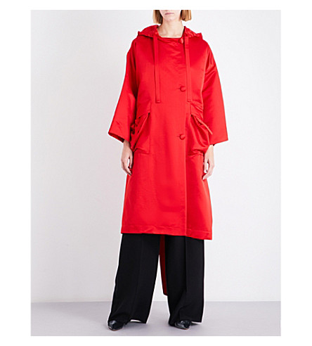 SHARON WAUCHOB Hooded silk coat (Red