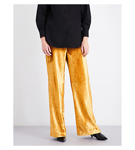 SHARON WAUCHOB High-rise wide velvet trousers (Gold