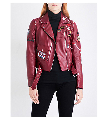 BELSTAFF Patch appliqué leather biker jacket (Red