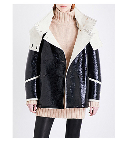 BELSTAFF Bethwin faux-leather and wool coat (Black/white