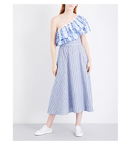 GUL HURGEL Asymmetric cotton and linen-blend dress (Dark+blue+stripes