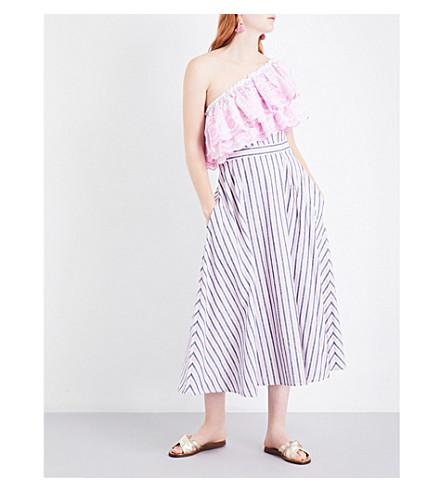 GUL HURGEL Asymmetric cotton and linen-blend dress (Pink stripes