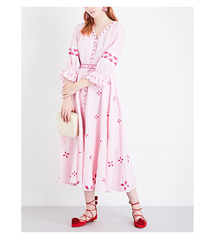 GUL HURGEL Flared embroidered linen maxi dress (Pink+white+embr.