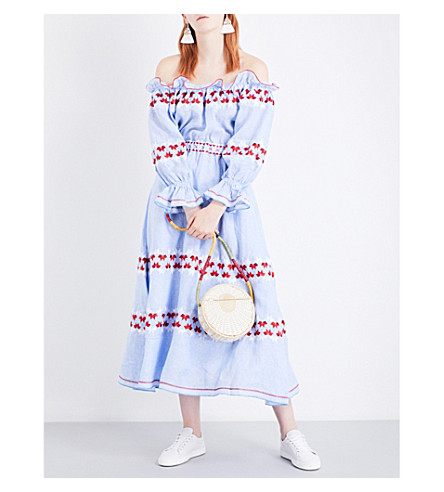 GUL HURGEL Off-the-shoulder linen maxi dress (Red+white+embr.