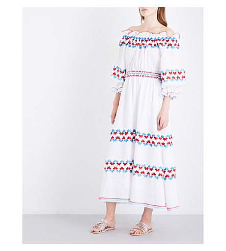 GUL HURGEL Embroidered off-the-shoulder linen maxi dress (White+-+embr.