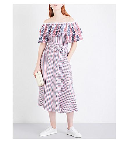 GUL HURGEL Off-the-shoulder cotton and linen-blend dress (Red stripe