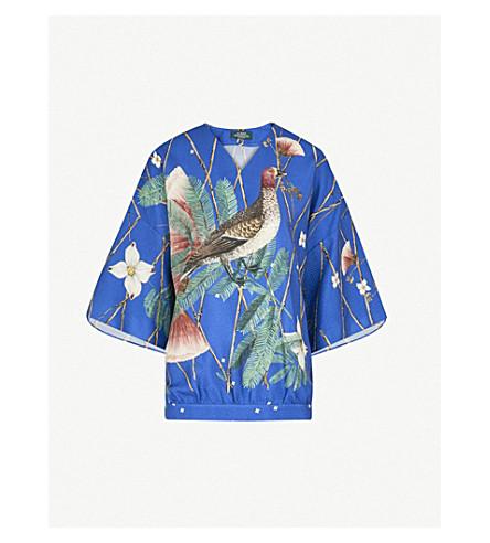 ALENA AKHMADULLINA Bird-print silk top (Blue+ducks
