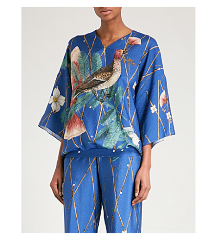 ALENA AKHMADULLINA Bird-print silk top (Blue ducks