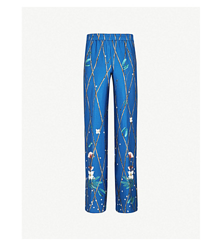ALENA AKHMADULLINA Bird-print silk trousers (Blue+ducks