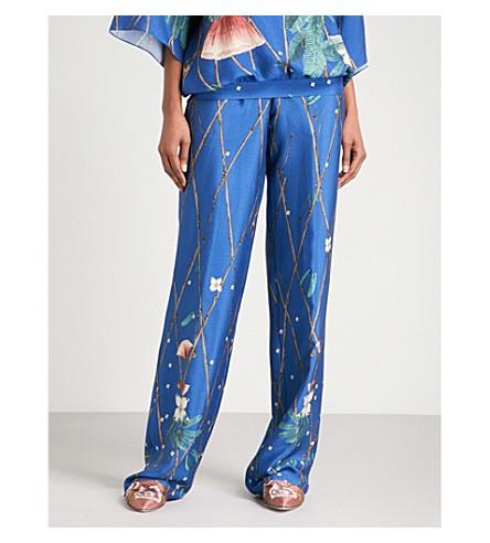 ALENA AKHMADULLINA Bird-print silk trousers (Blue+ducks