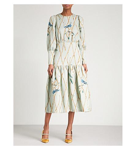 ALENA AKHMADULLINA Bird-print jacquard midi dress (Mint+birds