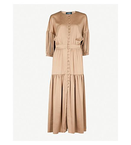 ALENA AKHMADULLINA Button-detail stretch-silk midi dress (Yellow