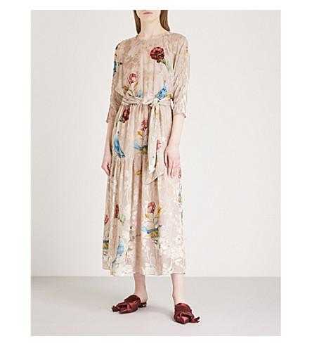 ALENA AKHMADULLINA Flocked floral-pattern belted woven midi dress (Print+pink