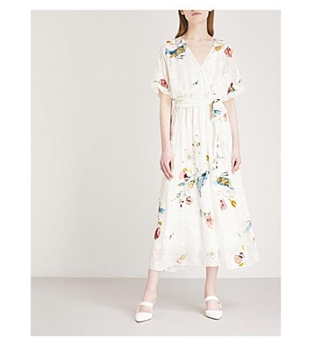 ALENA AKHMADULLINA Flocked floral-pattern V-neck woven midi dress (Print+white