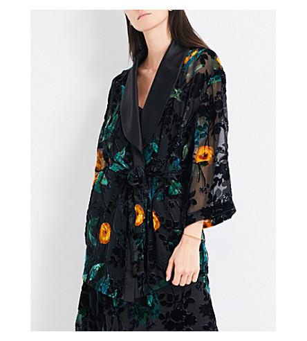 ALENA AKHMADULLINA Floral-print velvet devoré jacket (Black+devore
