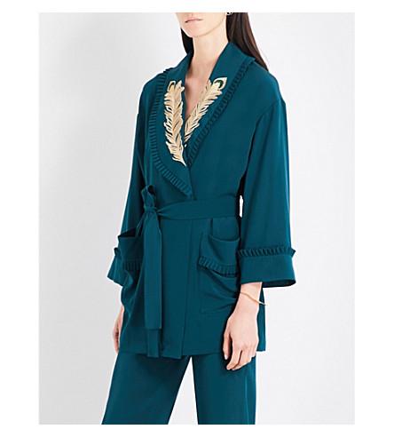 ALENA AKHMADULLINA Embroidered self-tie silk-crepe jacket (Green+silk