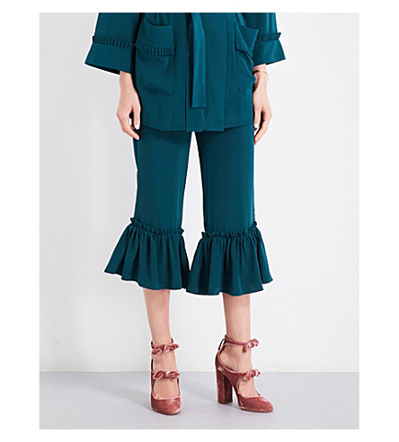 ALENA AKHMADULLINA Frilled-trim flared high-rise silk-crepe trousers (Green+silk
