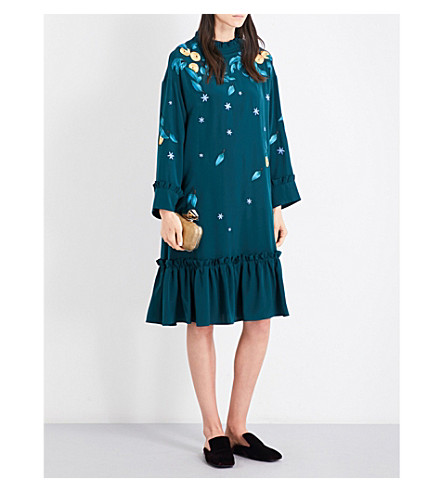 ALENA AKHMADULLINA Frilled-trim embroidered silk-crepe dress (Green+silk