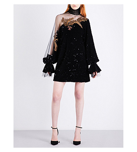 ALENA AKHMADULLINA Embroidered tulle and flocked mini dress (Black
